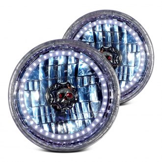 "RedLine LumTronix® - 7"" Round Chrome Diamond Halo Headlights with Skull"