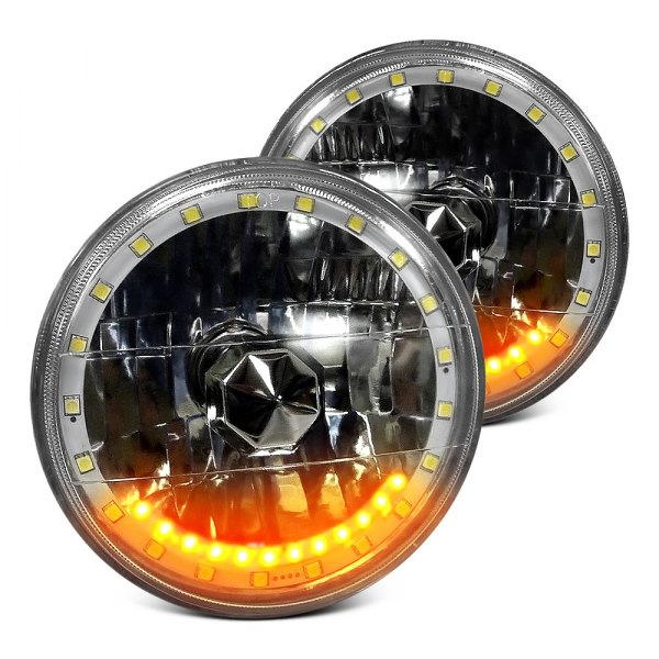 "RedLine LumTronix® - 7"" Round Chrome Diamond Cut Color Changing Halo Euro Headlights with Turn Signal"