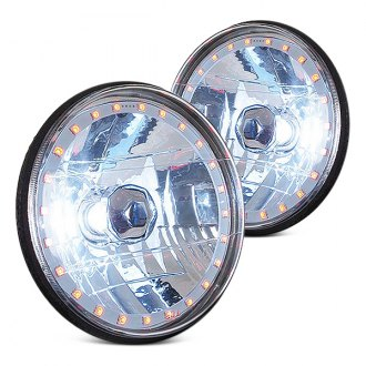 "RedLine LumTronix® - 7"" Round Chrome Diamond Halo Headlights"