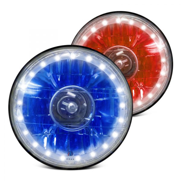 "RedLine LumTronix® - 7"" Round Chrome Diamond Cut Color Changing Halo Projector Headlight"