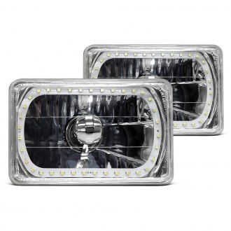 "RedLine LumTronix® - 4x6"" Rectangular Chrome Elite Diamond Cut Euro Headlights with Color Changing Halo"