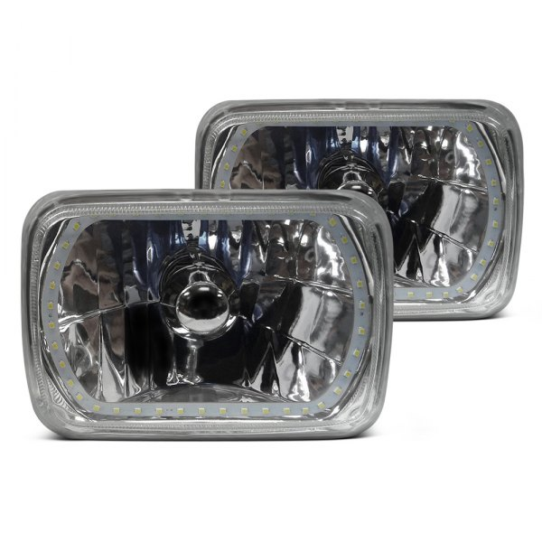"RedLine LumTronix® - Elite 4x6"" Rectangular Chrome Diamond Cut Euro Headlight with White Halo"
