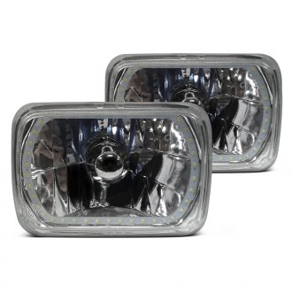 "RedLine LumTronix® - 4x6"" Rectangular Chrome Elite Diamond Cut Euro Headlights with White Halo"