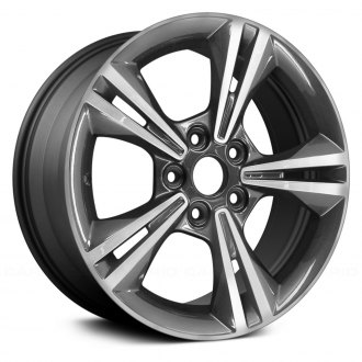 "Replace® - 16"" Remanufactured 5 Double Spokes Machined and Dark Charcoal Metallic Factory Alloy Wheel"