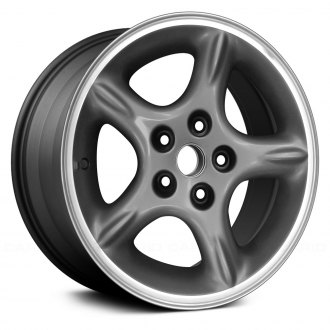 "Replace® - 16"" Remanufactured 5 Spokes Gray Charcoal Textured Machined Lip Factory Alloy Wheel"