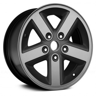 "Replace® - 16"" Remanufactured 5 Spokes Machined and Black Factory Alloy Wheel"