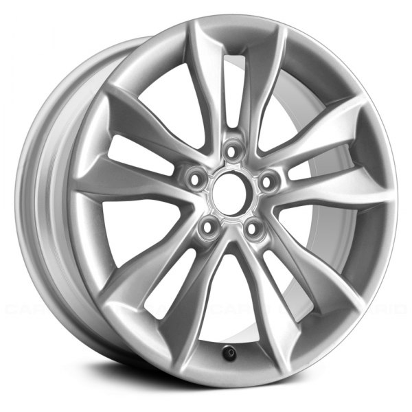 "Replace® - 17"" Remanufactured 5 Double Spokes All Painted Bright Silver Metallic Factory Alloy Wheel"