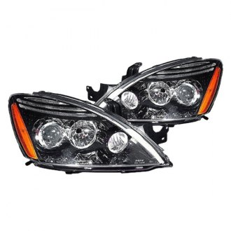 Replace® - Driver and Passenger Side Black Projector Headlight