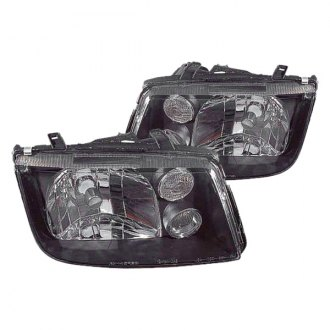 Replace® - Driver and Passenger Side Black Euro Headlights
