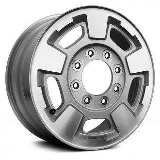 2017 chevy silverado 3500 replacement factory wheels rims carid 2009 Chevrolet Silverado replace 17x7 5 5 spoke bright silver metallic machined alloy factory wheel