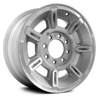 2004 hummer h2 replacement factory wheels rims carid Hummer H2 Wheels On Chevy K30 replace 17x8 5 7 spoke silver alloy factory wheel remanufactured