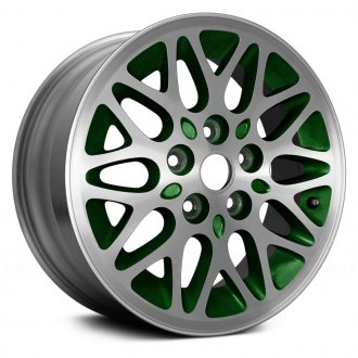"Replace® - 15"" Remanufactured 10 Spokes Take Off Machined and Green Factory Alloy Wheel"