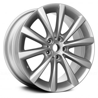 2016 bmw 7 series replacement factory wheels rims carid 2016 BMW 3 Series replace 17x7 5 5 v spoke all painted bright silver alloy factory