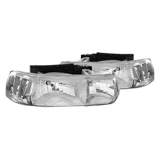 Replace® - Diamond-Cut Driver and Passenger Side Chrome Euro Headlights
