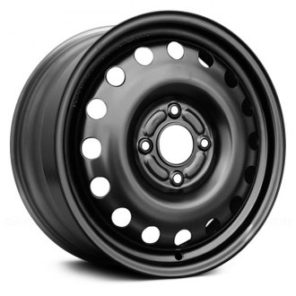 replace 15 replica 16 round vents black factory steel wheel