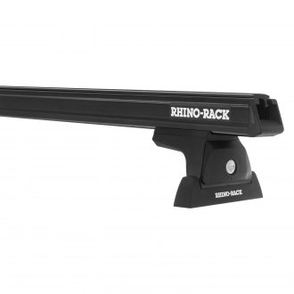 Rhino-Rack® - Heavy Duty RLT600 Black Roof Rack System (4 Legs with 2 Black Cross Bars, Front and Middle Kit)