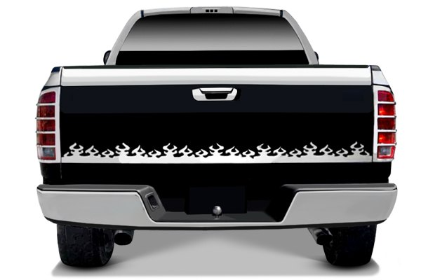 "Image may not reflect your exact vehicle! RI® - 63.5"" Universal SS Flame Design Tailgate Accent"