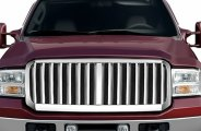 RI® - Vertical Style Chrome Grille Replacement with Mesh Background