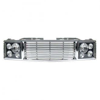 RI® - 1-Pc Range Rover Style Silver Billet Main Grille with Black Head Lamp