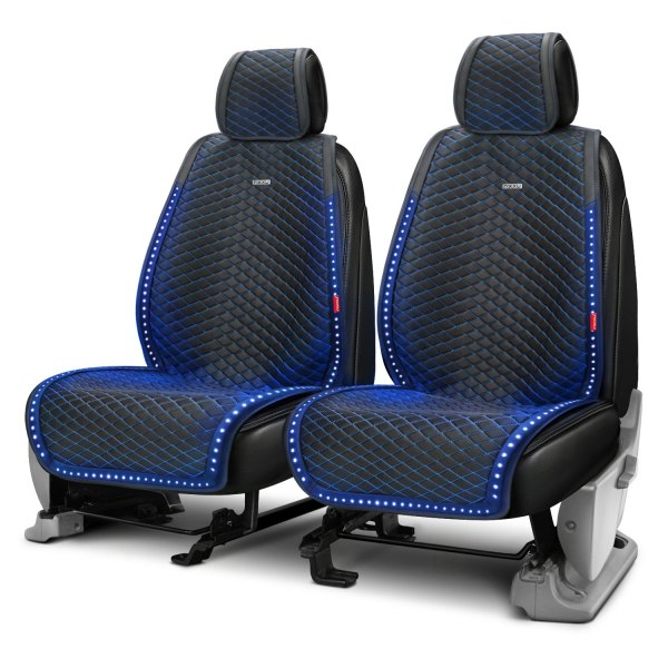 Blue Black Look Pair Front Car Seat Covers for BMW 1 Series All Years