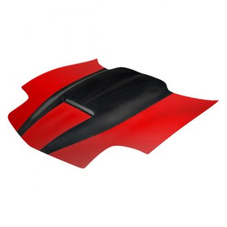 Image may not reflect your exact vehicle! RKSport® - Ram Air Hood with Carbon Fiber Blister