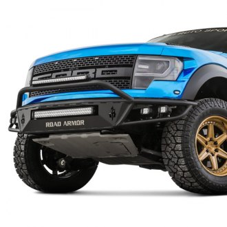 Road Armor® - Sahara Series Full Width Black Front Pre-Runner Bumper with Hoop