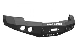 Road Armor® - Stealth Series Black Powdercoated Front Winch Bumper with Round Light Mounts