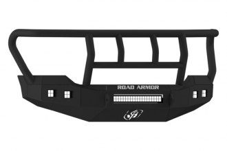 Road Armor® - Stealth Series Black Powdercoated Front Bumper with Titan II Guard and Square Light Mounts