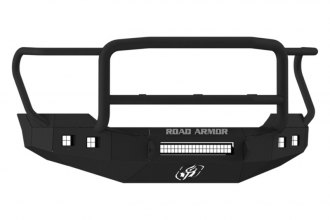 Road Armor® - Stealth Series Black Powdercoated Front Bumper with Lonestar Guard and Square Light Mounts