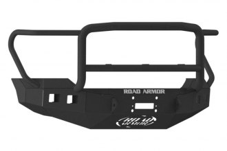 Road Armor® - Stealth Series Bare Steel Front Winch Bumper with Lonestar Guard and Square Light Mounts