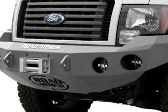 Road Armor® - Stealth Series Bare Steel Front Winch Bumper with Square Light Mounts