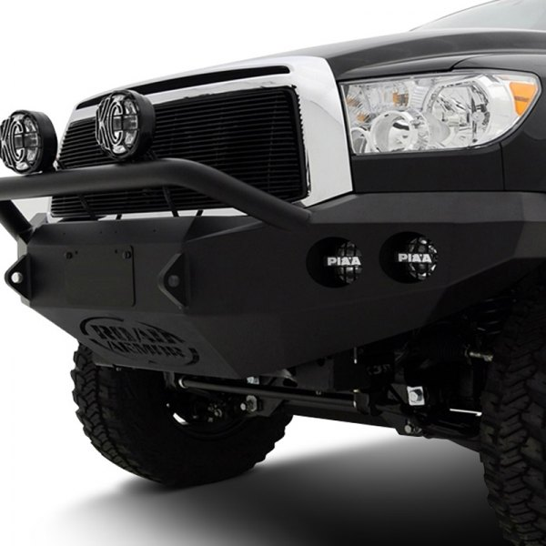 Image may not reflect your exact vehicle! Road Armor® - Stealth Series Black Powdercoated Front Bumper with Pre-Runner Guard and Round Light Mounts