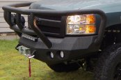 Road Armor® - Stealth Series Black Powdercoated Full Width Front HD Winch Bumper with Titan II Guard and Round Light Mounts