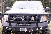 Road Armor® - Stealth Series Bare Steel Full Width Front HD Winch Bumper with Titan II Guard and Round Light Mounts