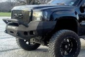 Road Armor® - Stealth Series Black Powdercoated Full Width Front HD Winch Bumper with Round Light Mounts