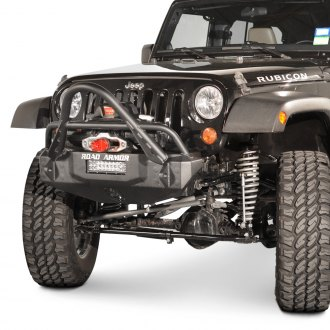 Road Armor® - Stealth Series Full Width Black Front Winch HD Bumper with Light Bar Mount and Stinger Guard