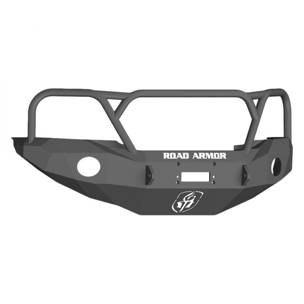 Road Armor® - Stealth Series Black Powdercoated Full Width Front HD Winch Bumper with Aggro Guard