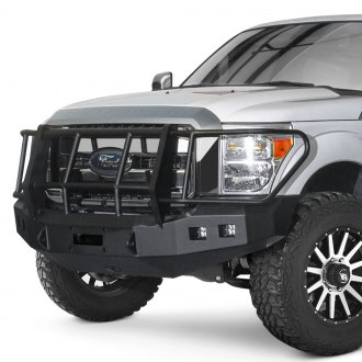 Road Armor® - Stealth Series Full Width Bare Steel Front Winch HD Bumper with Foreman Guard