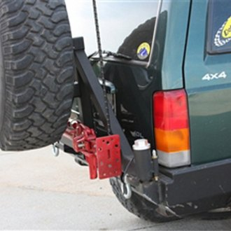 Rock Hard 4x4® - Patriot Series Full Width Black Rear HD Bumper with Tire Carrier