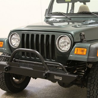 Rock Hard 4x4® - Mid Width Front HD Bumper with Straight Up Hoop and Tube Extensions