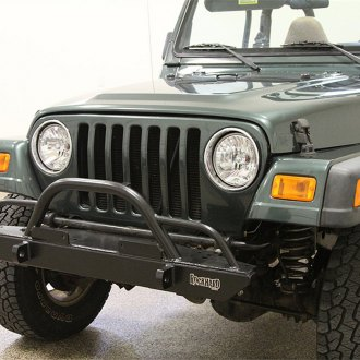 Rock Hard 4x4® - Stubby Front HD Bumper with Straight Up Hoop with Tube Extensions