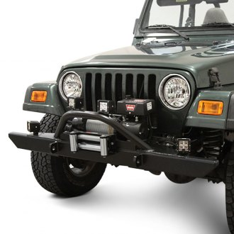 Rock Hard 4x4® - Mid Width Front Winch HD Bumper with Angled Forward Hoop