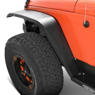 Rock Slide Engineering® - Hybrid Style Textured Black Aluminum Front and Rear Fender Flares