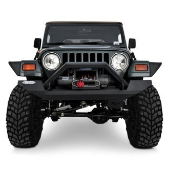 Rock Slide Engineering® - Full Width Raw Front Winch HD Bumper with Hoop