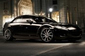 RODERICK® - RW4 Black with Brushed Face and SS Lip on Mazda RX-8