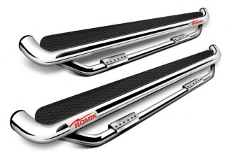 Romik® - RBT Series Polished Running Board Side Steps with Add-on and Black Top