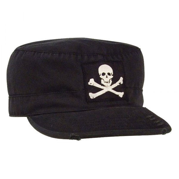 Rothco® - Black Vintage Military Fatigue Cap With Jolly Roger, S