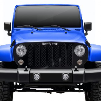 Royalty Core® - 1-Pc RCJK 1st Gen Retro Jeep Design Satin Black 5.0 Super Mesh Main Grille
