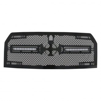 "Royalty Core® - 1-Pc RC2X LED X-Treme Dual Design Custom Painted Mesh Grille with 2 x 11.5"" Vertical LED Light Bars"