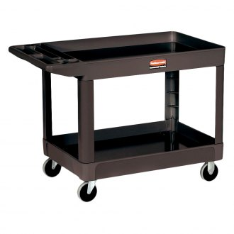 "Rubbermaid® - 46"" x 26.8"" x 8.9"" Black HD 2-Shelf Utility Cart With Casters, Lipped Shelf Medium"